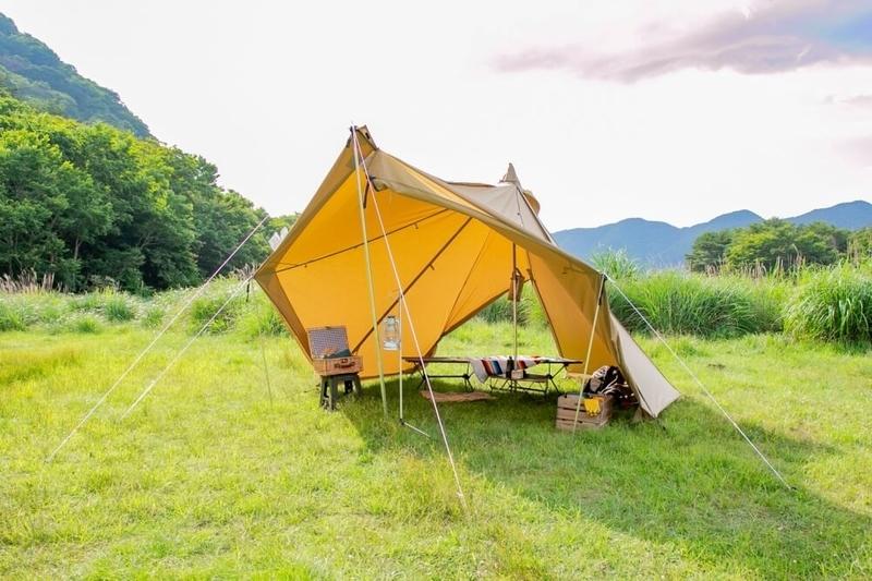 ogawaのテント タッソT/C設営完了後の様子
