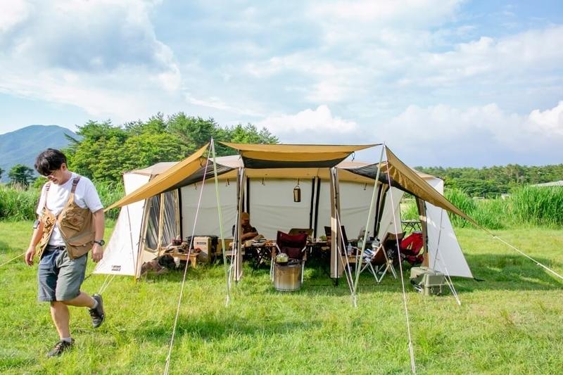 ogawaのテント アポロンT/Cの設営完了後の写真