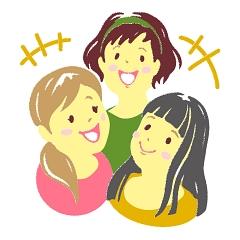 ラブちゃん占い「ラブちゃんの九星術占い【2021年秋(9月・10月・11月)の運勢】」三碧木星のイメージイラスト。笑顔の女性たちが会話している
