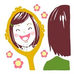 ラブちゃん占い「ラブちゃんの九星術占い【2021年秋(9月・10月・11月)の運勢】」七赤金星のイメージイラスト。鏡を見ながら笑顔の練習をする女性