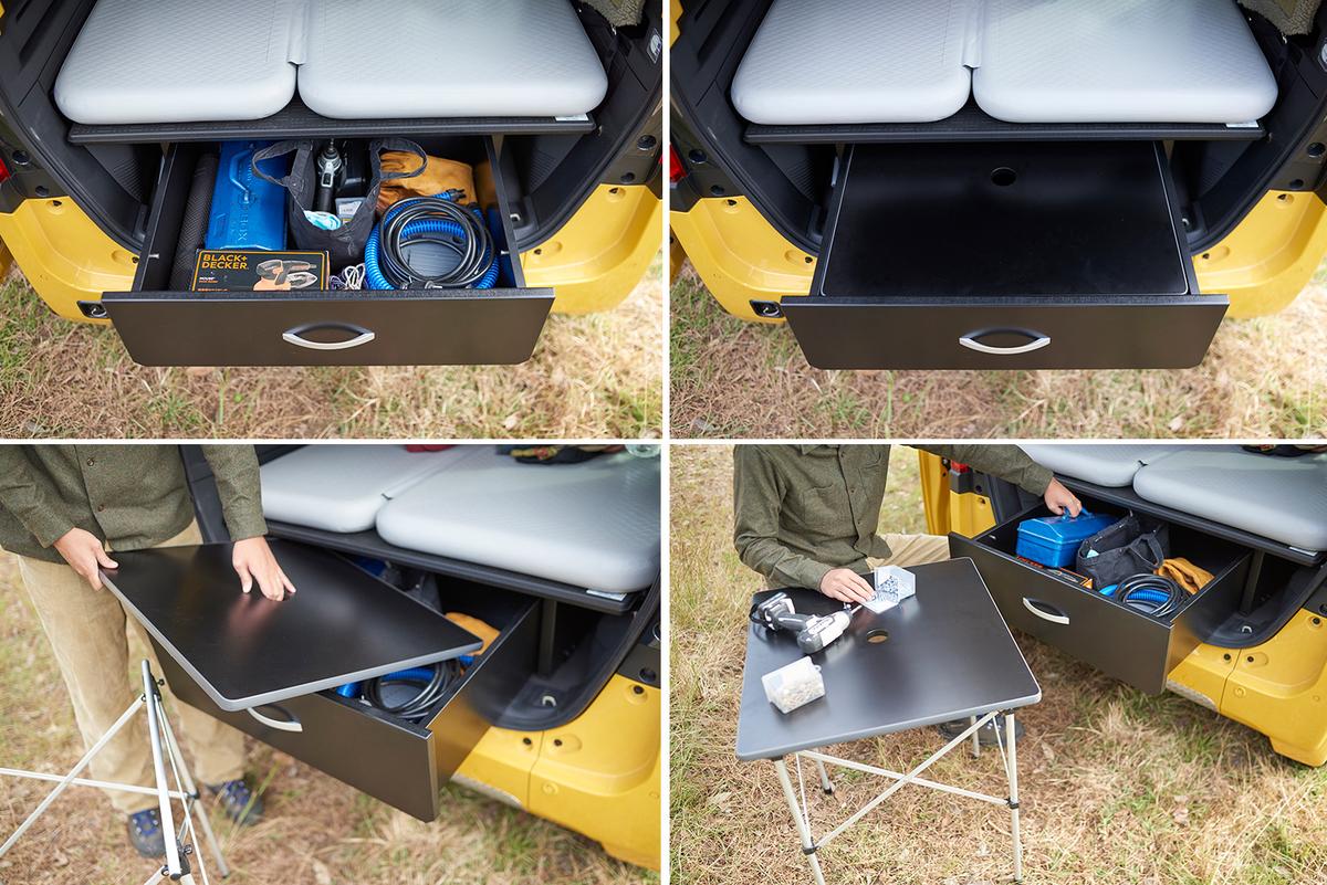 『N-VAN純正マルチボード(ラゲッジ)取付用』のN-VAN用スライド式収納BOX&アウトドアテーブルセットを実際に使っている写真