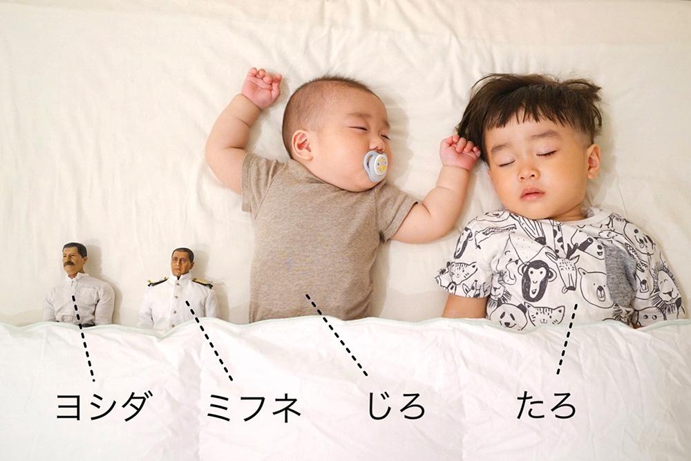 ヨシダさん、ミフネさんと、たろとじろがすやすや寝ている
