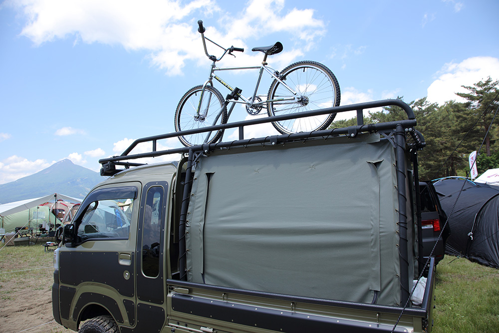 自転車をのせたハイゼット