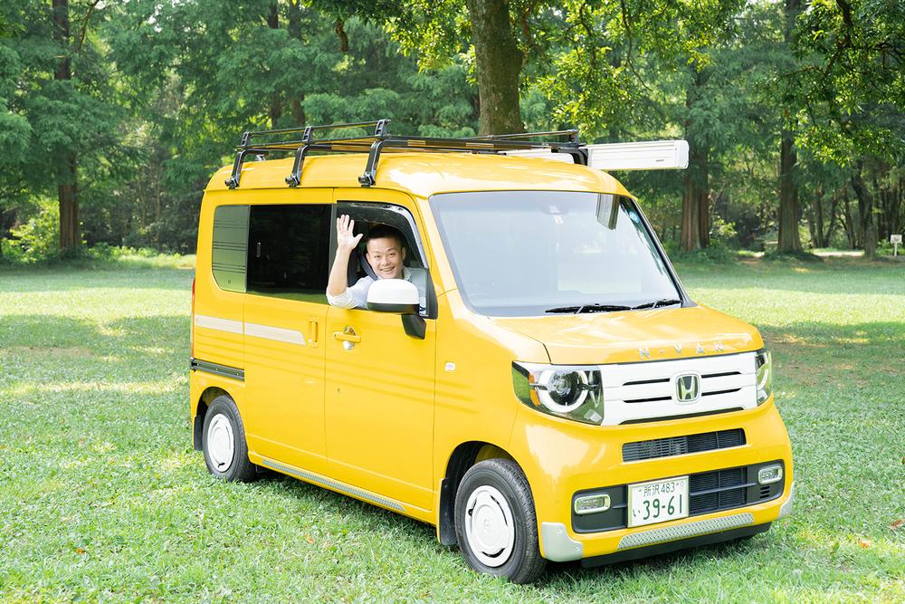 N-VANに乗ってキャンプ場についた横田さん