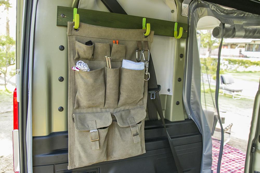 N-VAN COMPOの車内にDIYで取り付けた道具入れ