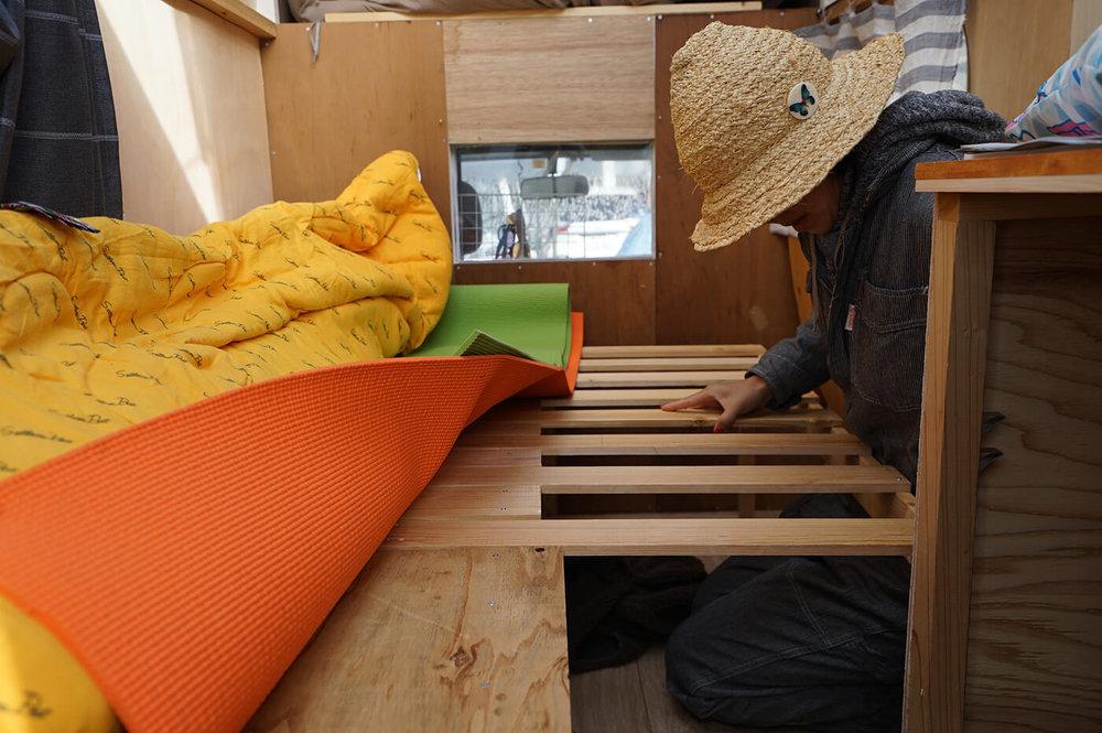 藤田さんの愛車の可動式ベッド