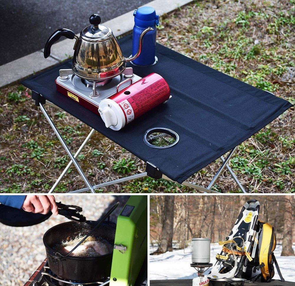 車中泊のプロがおすすめ便利グッズ、車中泊の必需品、装備と道具を紹介。キャンプ場で各種ストーブを使っている様子
