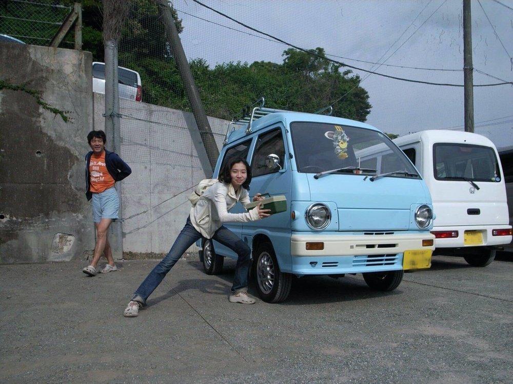 森風美さんが子供の頃、父の愛車との思い出写真