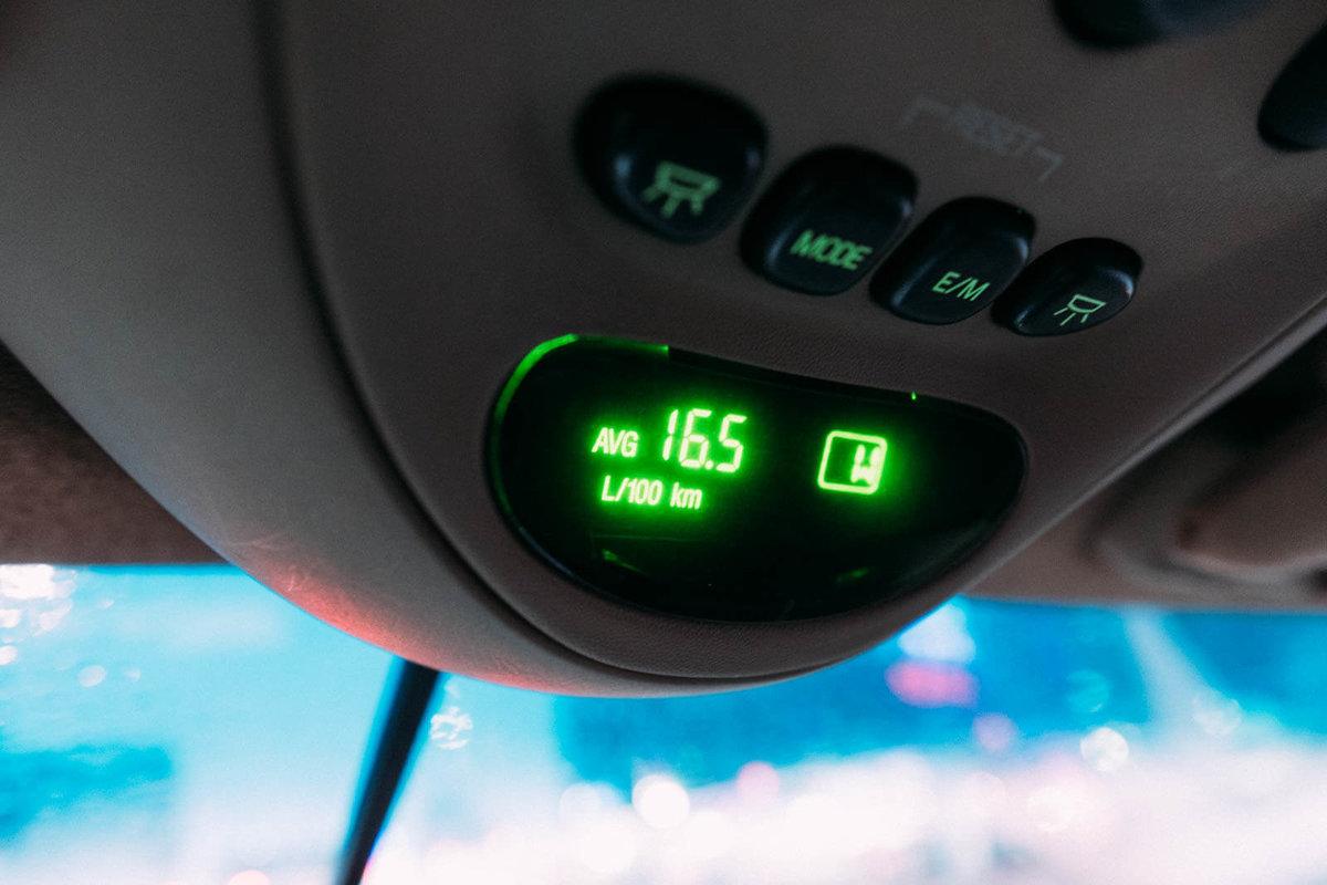 整備前、オドメーターの数値は16.5L/100km