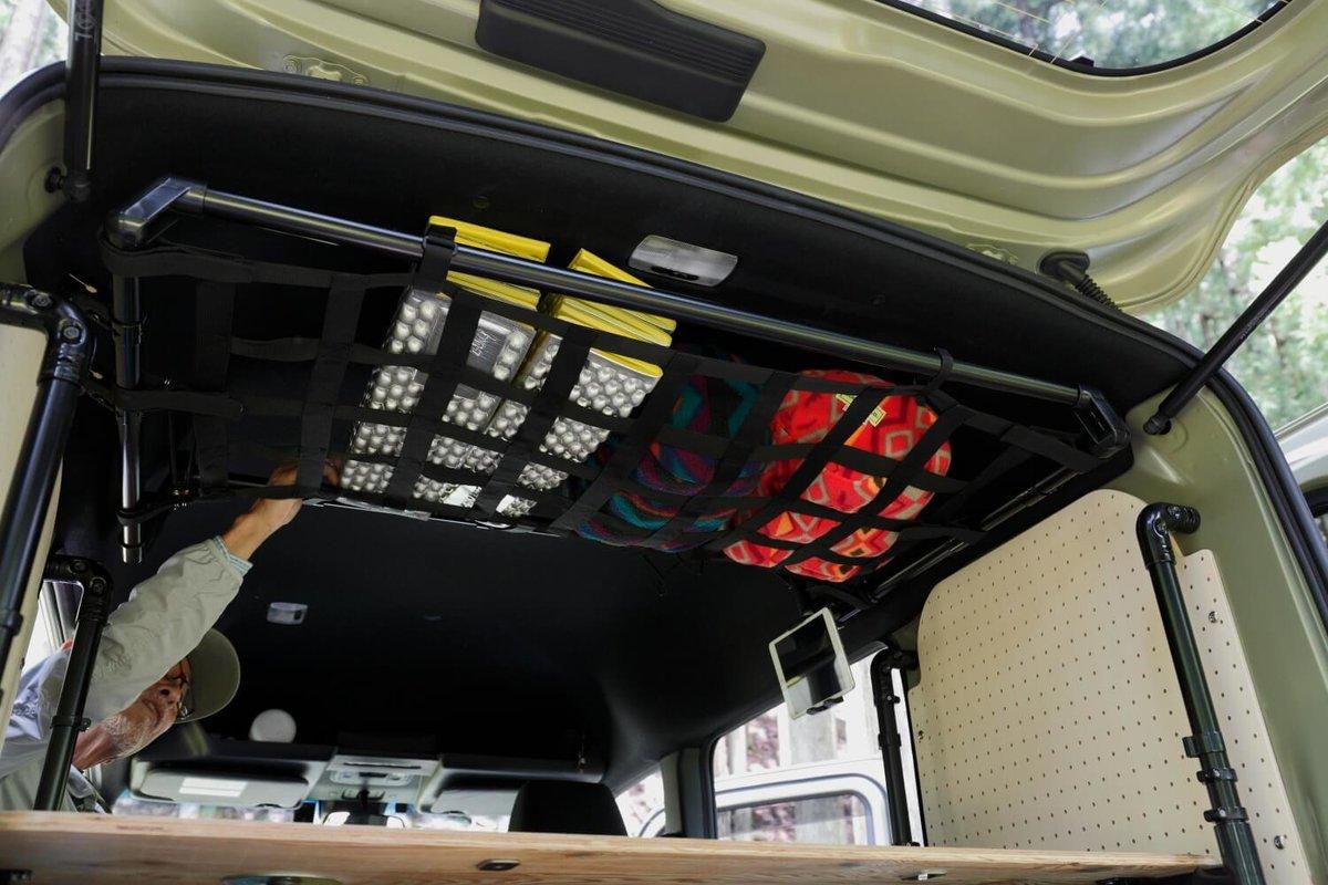 天井に取り付けたカーゴネット。N-VAN車中泊キャンプ、改造カスタム