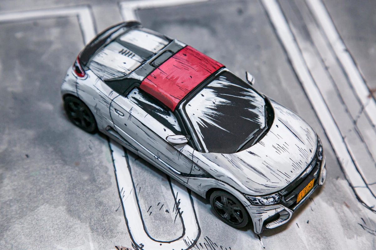 SHINGAさん作のマンガ風塗装カープラモデル「S660 Modulo X」
