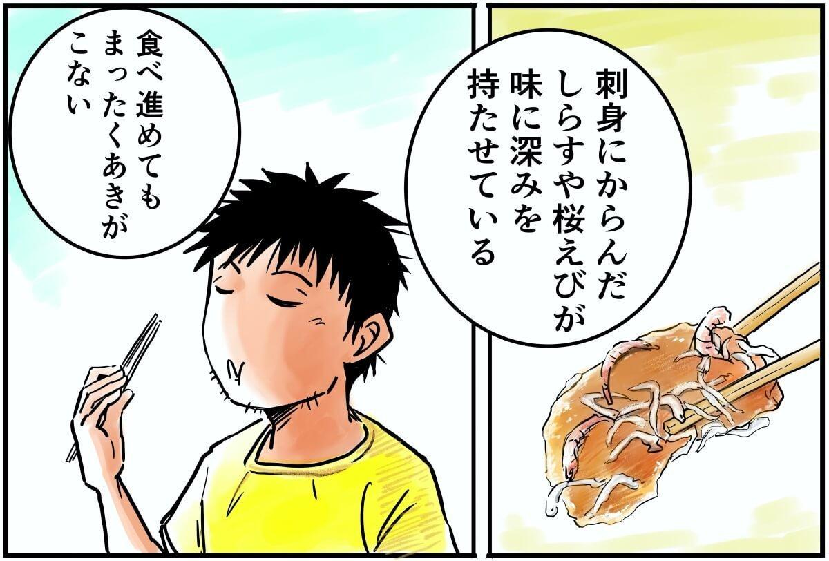 刺身にからんだしらすや桜えびが味に深みをもたせている。食べ進めてもまったくあきがこない。