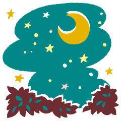 ラブちゃんの占い2020年10月秋_06 五黄土星の星空のイラスト