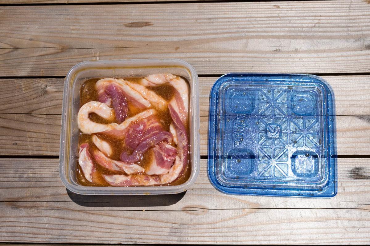 32_車中泊キャンプでバーベキュー。ジップロックコンテナーの中に、たれと豚肉が入っている