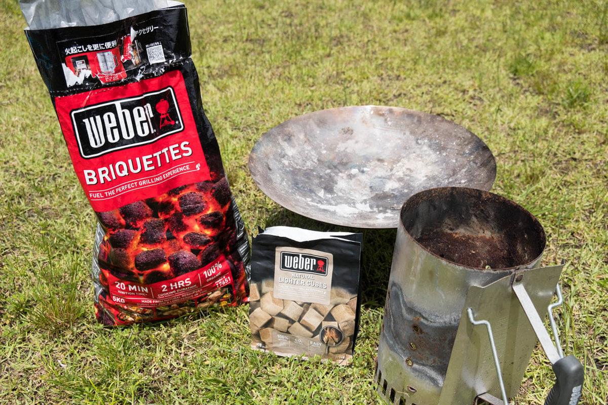 04_車中泊キャンプの調理道具とおすすめ調味料。豆炭、点火剤、火起こし器、焚き火台