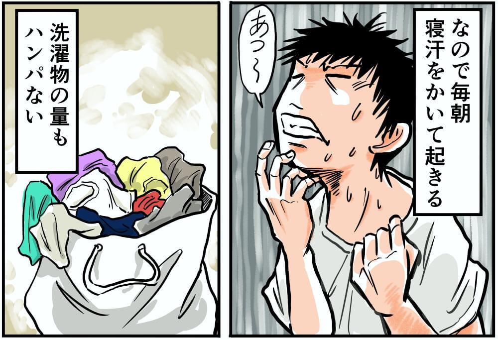 なので毎朝寝汗をかいて起きる。洗濯物の量もハンパない