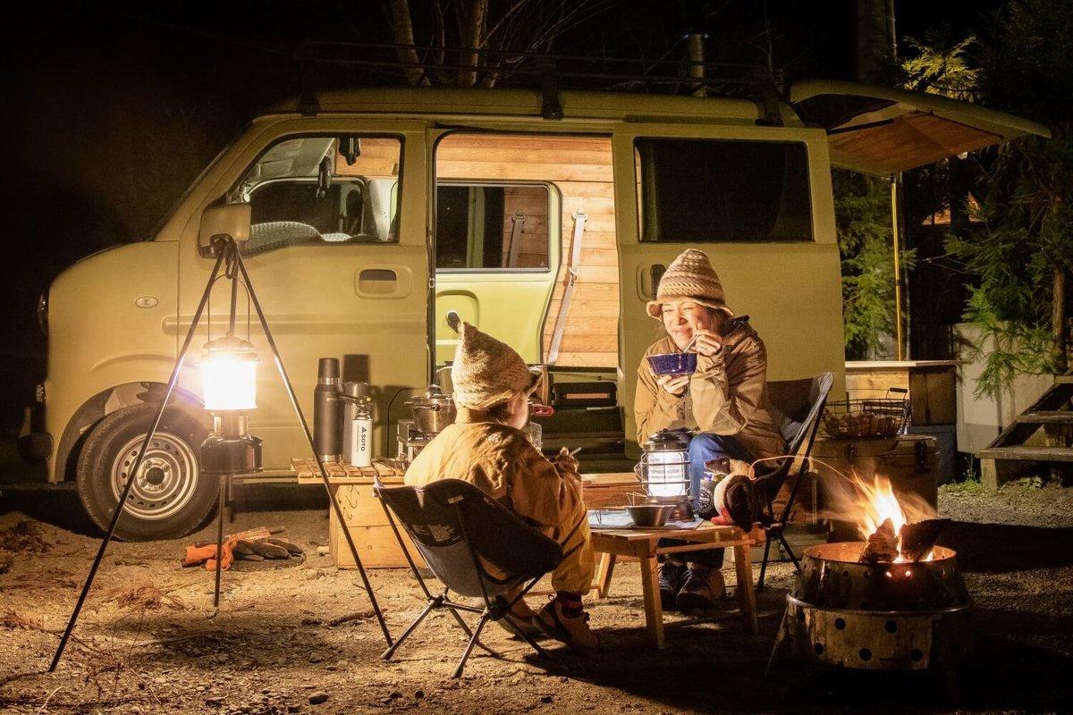 三沢真実さんが息子さんとキャンプを楽しんでいる様子