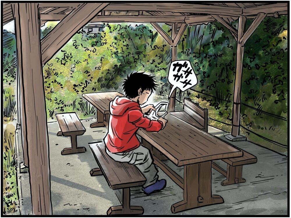 天界苑でお弁当に購入した近江スエヒロのステーキ弁当を取り出す、車中泊漫画家・井上いちろうさんのイラスト