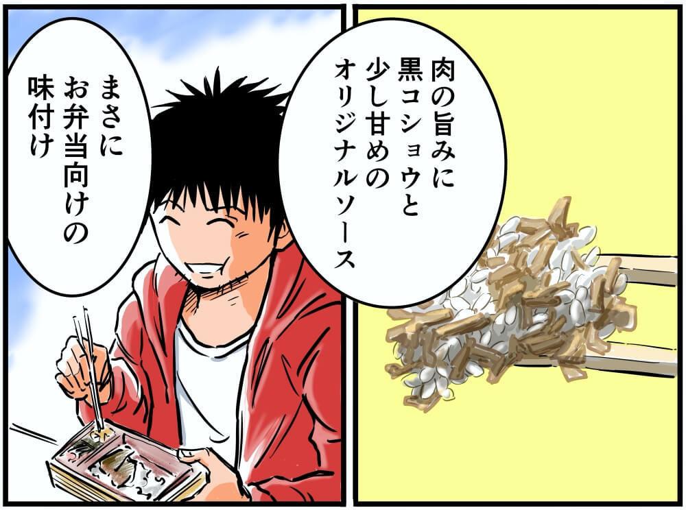 近江スエヒロの飛騨牛ステーキ弁当の味付けを解説する、車中泊漫画家・井上いちろうさんのイラスト