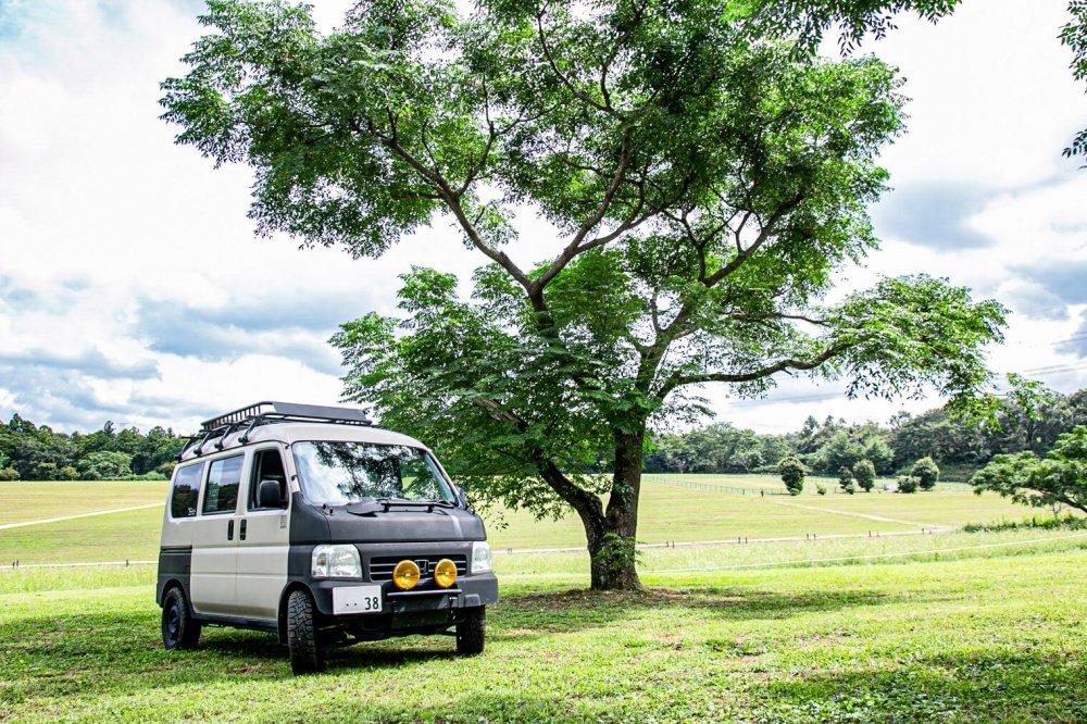 03_千葉県「森のまきばオートキャンプ場」と宮崎秀仁さんのHonda・アクティバン