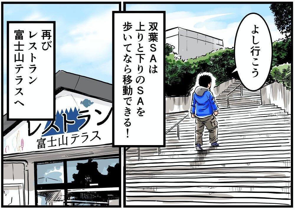 双葉SA(上り)の階段を通って下り側のSAへ移動する車中泊漫画家・井上いちろうさんのイラスト