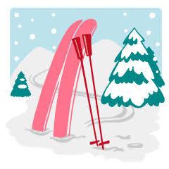 03 ラブちゃん占い2020年12月冬。占い師Love Me Doさん(ラブちゃん)の九星術占い「2020年冬の運勢」。二黒土星の開運アイテム、開運アクション。雪山でスキーのイラスト