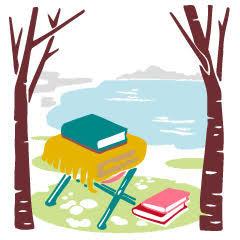 04 ラブちゃん占い2020年12月冬。占い師Love Me Doさん(ラブちゃん)の九星術占い「2020年冬の運勢」。三碧木星の開運アイテム、開運アクション。海、川、湖のそばで読書のイラスト
