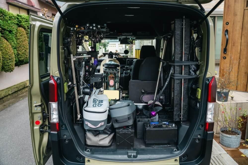 トランポ仕様にカスタムしたN-VANの荷室写真