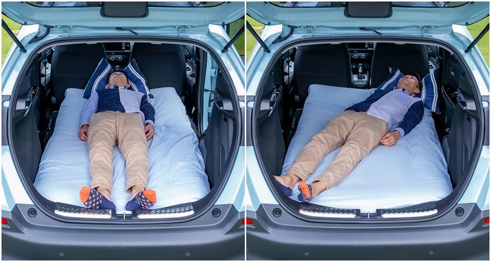 12_ Hondaフィット クロスターで身長172センチの男性が快適に車中泊できるか寝て試している