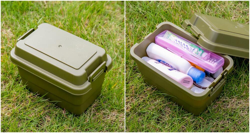 28_セリアのバックルボックスに洗面道具を収納している