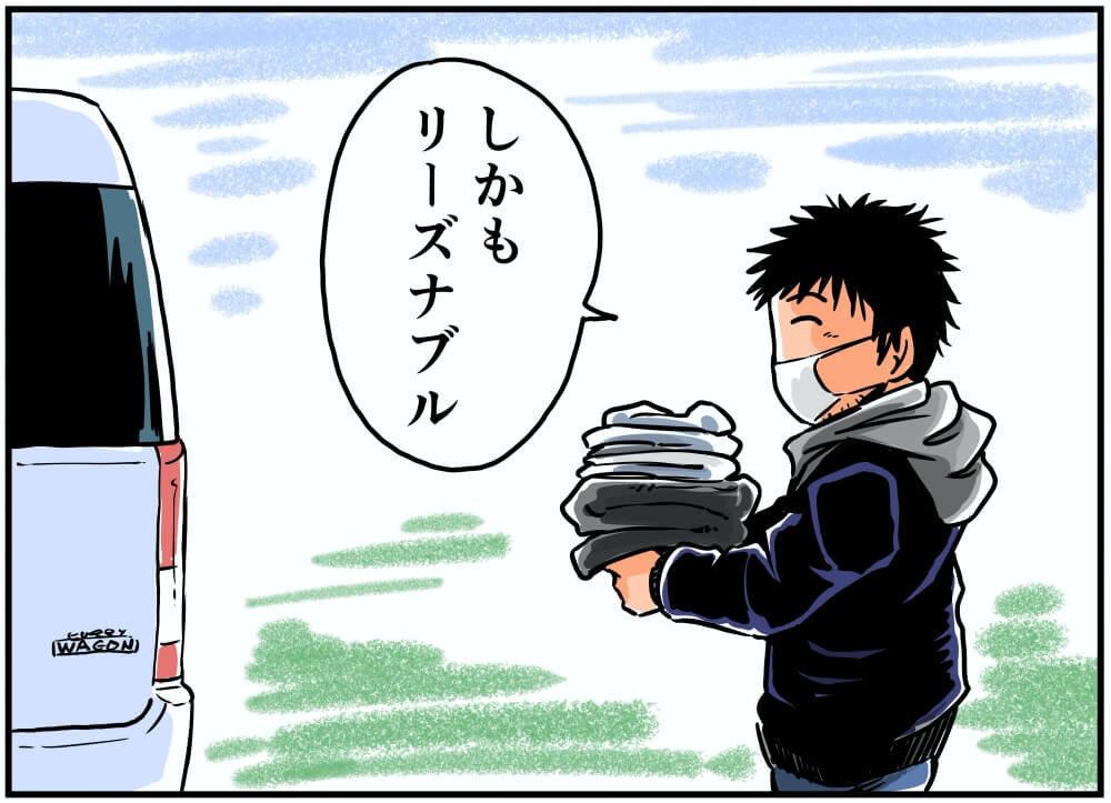 ワークマンで購入した商品を車内に運ぶ車中泊漫画家・井上いちろうさんのイラスト