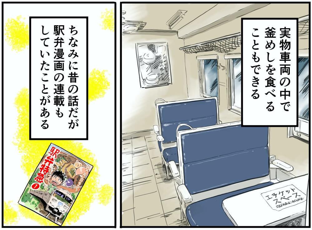 上信越自動車道・横川SA(上り)に再現された横川駅の電車の車内イラスト