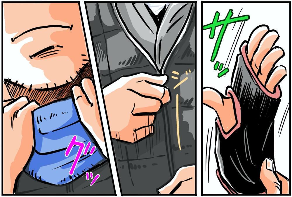 上信越自動車道・横川SA(上り)の駐車場でワークマンの防寒着に着替える車中泊漫画家・井上いちろうさんのイラスト