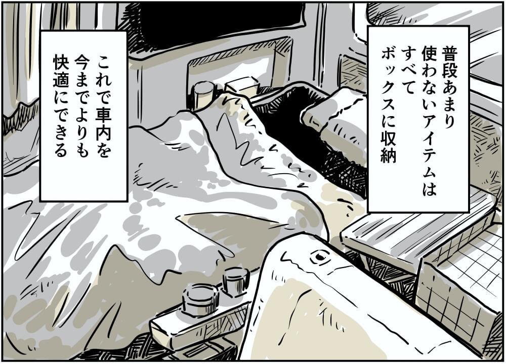 車中泊漫画家・井上いちろうさんのスズキ・エブリイの車内スペースのイラスト