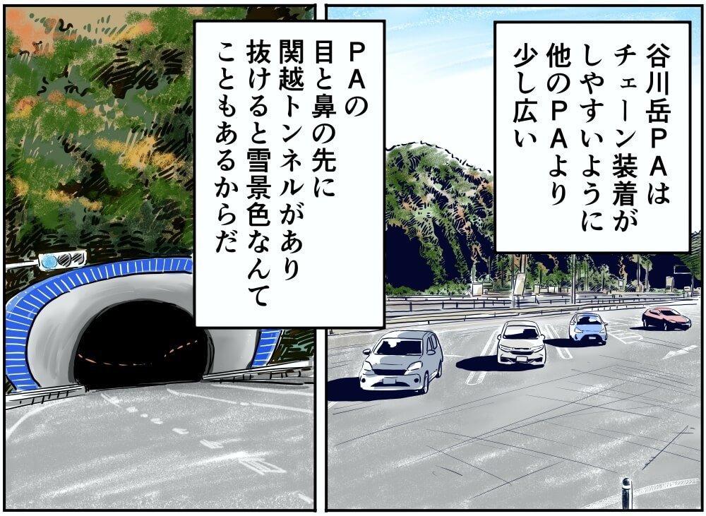 関越自動車道(下り)・谷川岳PA(下り)の駐車場と関越トンネルのイラスト
