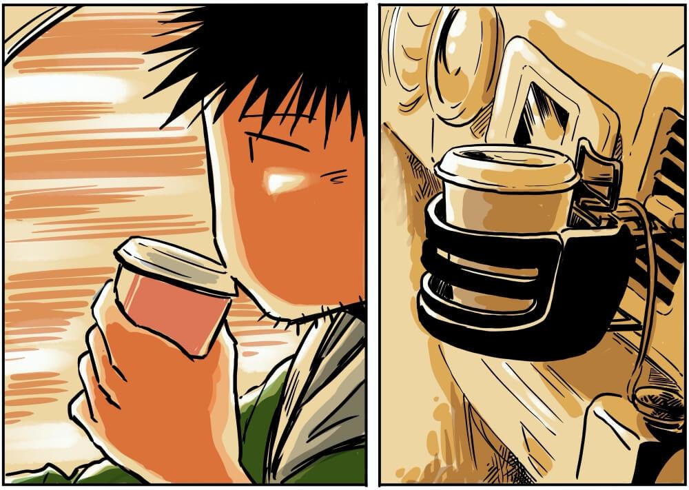 関越自動車道(下り)の関越トンネルの中でコーヒーを飲む車中泊漫画家・井上いちろうさんのイラスト