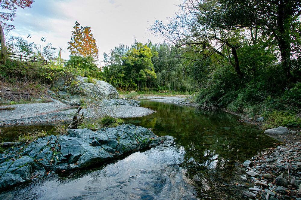 キャンプ民泊「NONIWA(ノニワ)」の離れの庭から見える川
