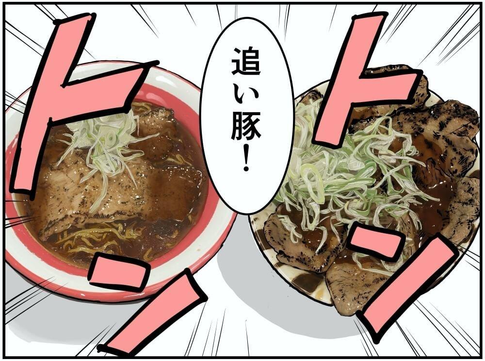 上里SA(上り)にあるらーめん那の福・炙り豚醤油ラーメンと上州ぽ〜く亭の溶岩焼きロース・バラ豚丼のイラスト