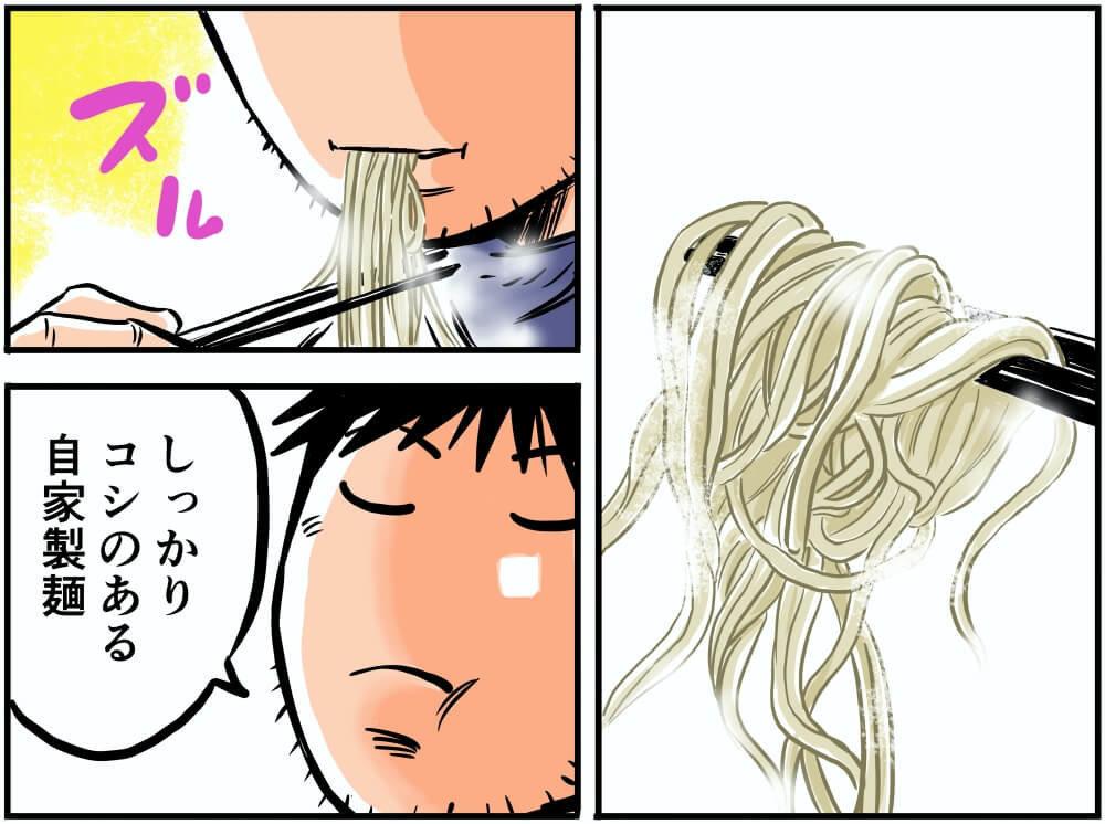 上里SA(上り)にあるらーめん那の福・炙り豚醤油ラーメンを食べる車中泊漫画家・井上いちろうさんのイラスト