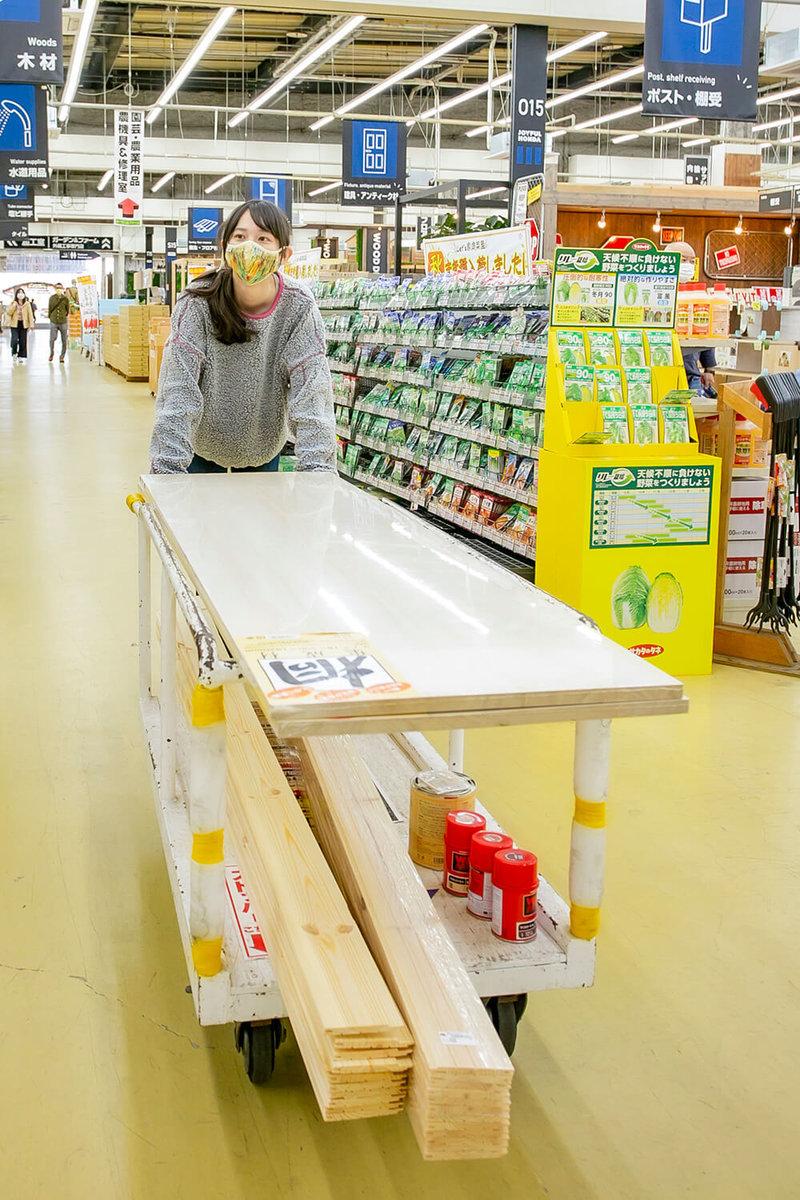 ホームセンター「ジョイフル本田 ニューポートひたちなか店」の店内で、選んだ材料をカートに積んで移動する森風美さん
