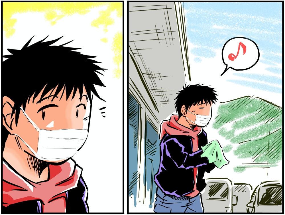 トイレ休憩を終えた車中泊漫画家・井上いちろうさんのイラスト