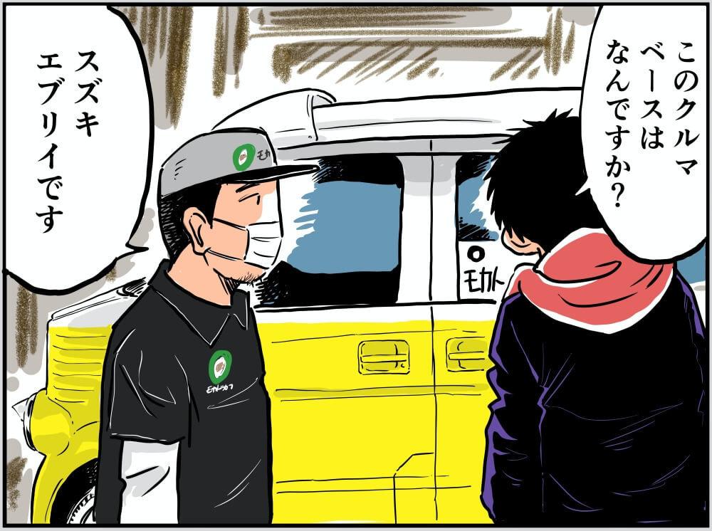 カスタムされたスズキ・エブリイについて語る車中泊漫画家・井上いちろうさんとモカトラカフェ・店長の渡邉さんのイラスト