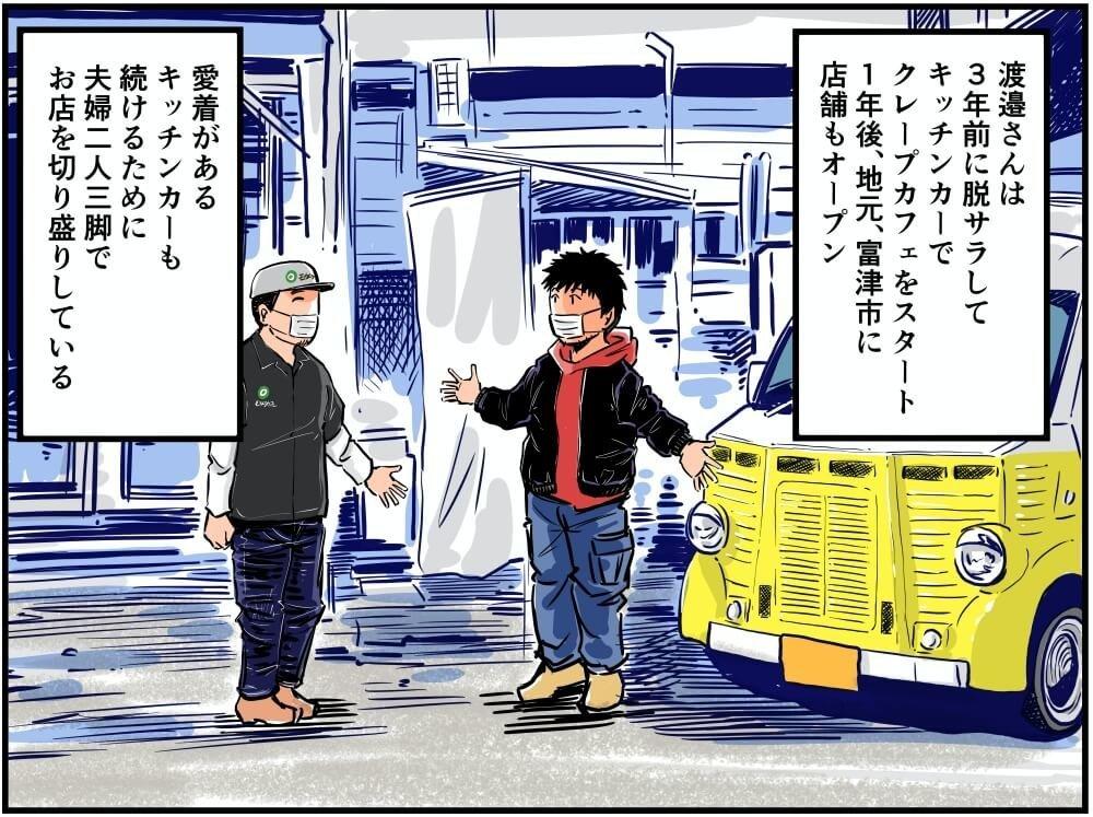 モカトラカフェの創業エピソードを語る・店長渡邉さんのイラスト
