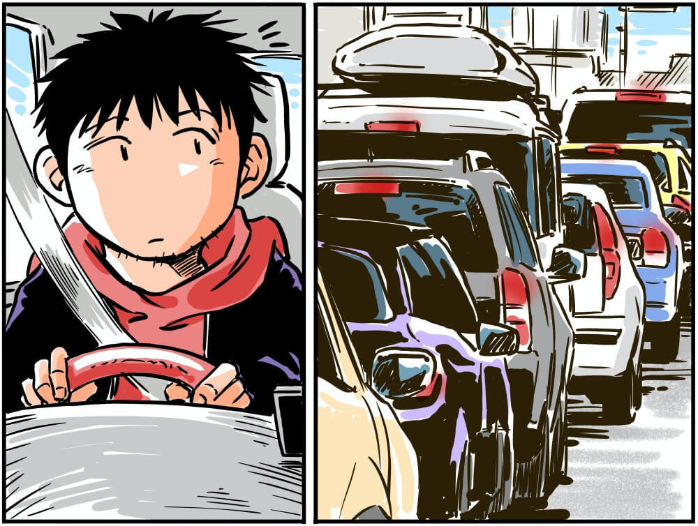 運転中になにかに気づく車中泊漫画家・井上いちろうさんのイラスト