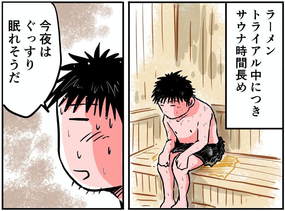 石鎚山ハイウェイオアシスにある椿温泉こまつのサウナに入る車中泊漫画家・井上いちろうさんのイラスト