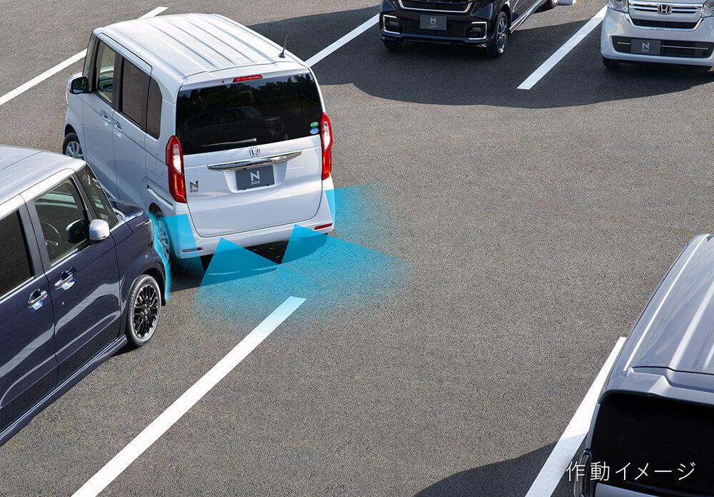 新型エヌボックスのパーキングセンサーが後方の障害物を検知する作動イメージ