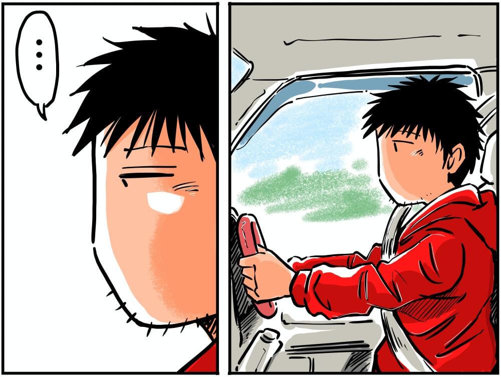 スズキ・エブリイの車内でハンドルを握る車中泊漫画家・井上いちろうさんのイラスト
