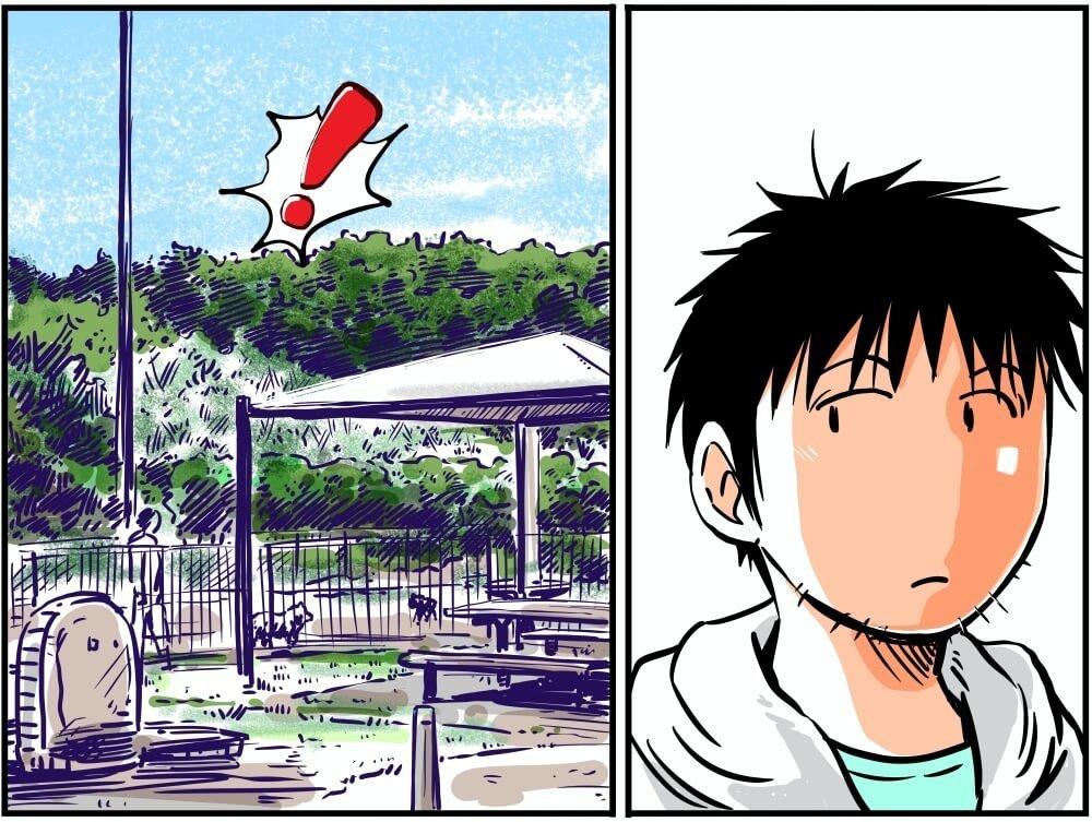 館山自動車道にある市原SA(下り)の喫煙所でなにかに気づく車中泊漫画家・井上いちろうさんのイラスト