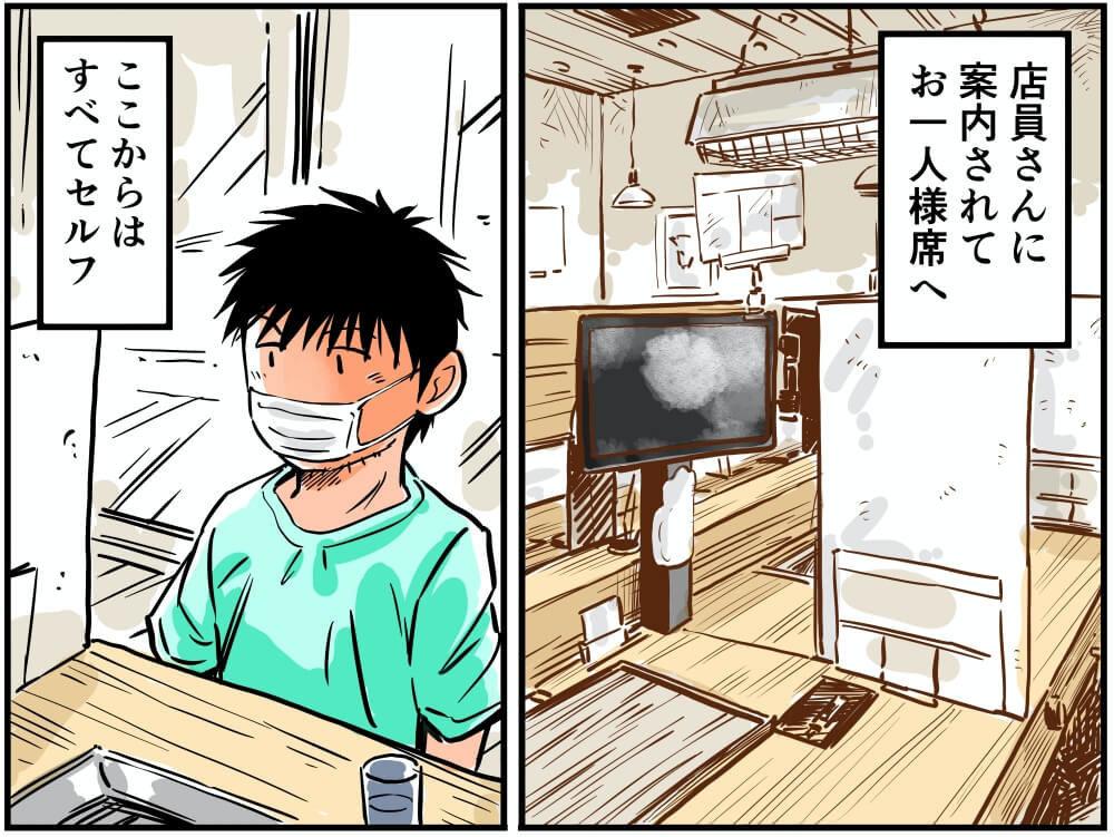 パサール守谷SA(上り)の焼肉ライクで注文をスタンバイする車中泊漫画家・井上いちろうさんのイラスト