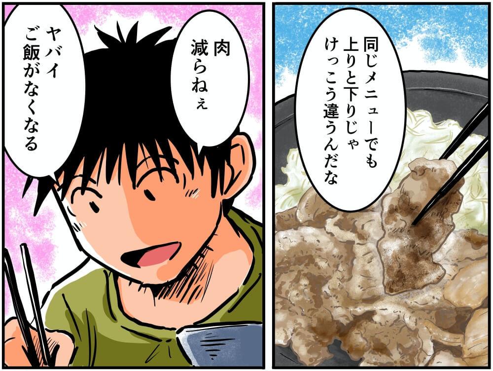 常磐自動車道・美野里PA(下り)の「みのりの生姜焼き定食」を食べる車中泊漫画家・井上いちろうさんのイラスト